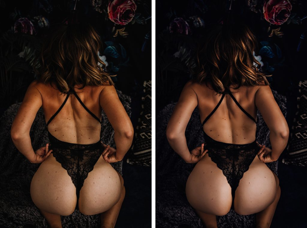 Before and after image of tan line edit.
